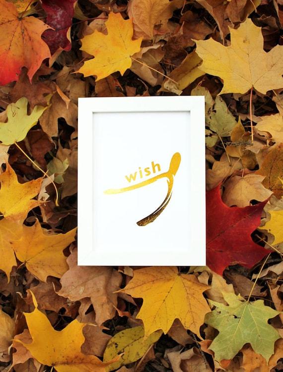Gold Foil Print Wishbone Lucky Break WISH PRINT - Metallic - Thanksgiving Decor