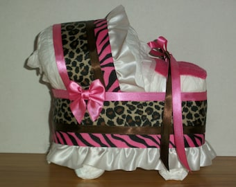 Cheetah Zebra Print Hot Pink Brown Girl Diaper Bassinet Baby Shower Gift  Table Decoration