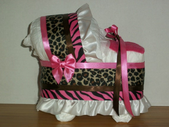 cheetah zebra print hot pink brown girl diaper bassinet baby shower