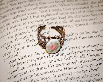 Adjustable Size Transferware Floral Cameo Ring: Emma