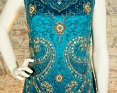1960s teal and silver beaded paisley silk tunic