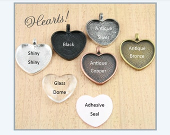 10 Blank 1 inch Heart Pendant Trays (10) Option Heart Glass Domes (10) and Optional Dry Adhesive Craft  Seals (10) or (20)