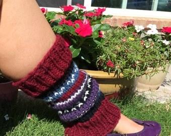 Striped Legwarmers / Adult Leg Warmers - Purple - Blue - Red - White - Black