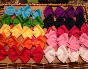 20 Medium size Classic pigtail Bows---You Pick COLORS--Discounted to ONLY 2.00 per bow buying in bulk