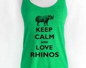 Keep Calm and Love Rhinos Soft Tri-Blend Racerback Tank
