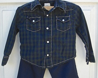 VINTAGE blue and green western shirt and blue pants for boys, little boys outfit (12-18 months)