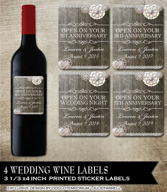 Rustic Wedding Wine Bottle Labels Printed Customizable Wine