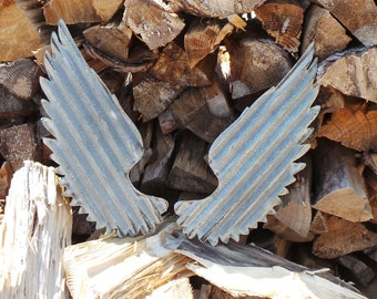 WINGS Set of 2 Corrugated Metal FREE SHIPPING