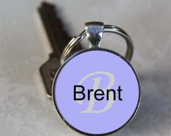 Brent Name Monogram Handcrafted Glass Dome Keychain (GDNKC0368)