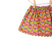Girls Holiday Skirt / Magenta and Green Floral / 6 months to age 10 / Made to Order
