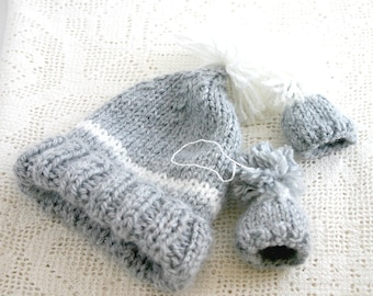 Grey Knit Newborn Hat Set-  Knitted Baby Cap - Two Miniature Caps- Ornaments- Baby Hat