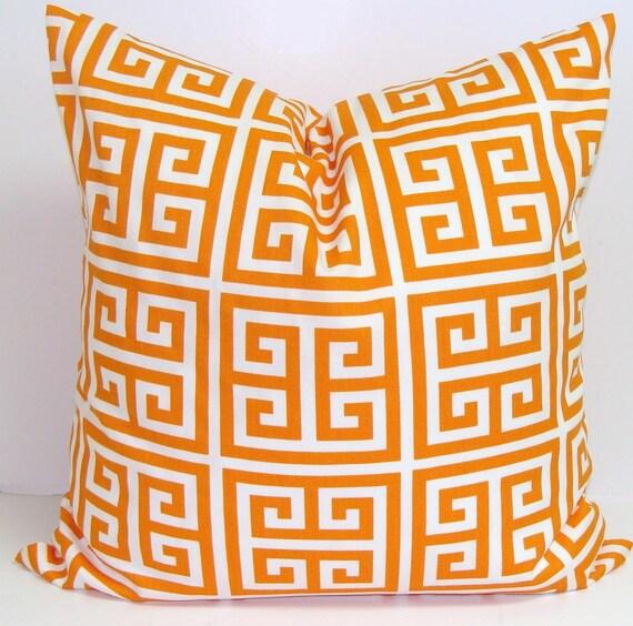 ORANGE Pillows.ALL SIZES.Decorative Pillow Cover.Housewares.Decor.Pillows.Cushion.Cm.Orange Cushion.Orange Pillows.Cm.Greek Key.Pillow Cover