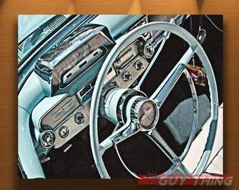 Boyfriend Gift, Car Picture, T Bird, Ford Thunderbird, Blue Car, Car Photo, Automotive Art, Vintage Car Art, Automobile Art, Dashboard Art