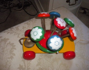 Rare Made in Greece Wooden Vintage Pull Toy With Metal Bell, Vintage Toy, Vintage Toy Collector, Children's Toy