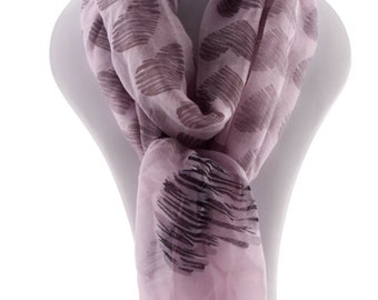Heart print Scarf, Valentine valentines gift idea for women, Gift Women, lavender Purple Scarf  - By PiYOYO