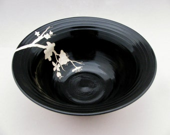 Cherry Blossom Collection: Black and White Carved Ceramic Serving Bowl, Floral Design,Asian-inspired Functional Art Pottery