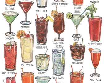 Cocktails Retro Art Drinks Vintage Printable Illustration Instant Download Collage - Altered Art Supply - Holiday Party Decorations
