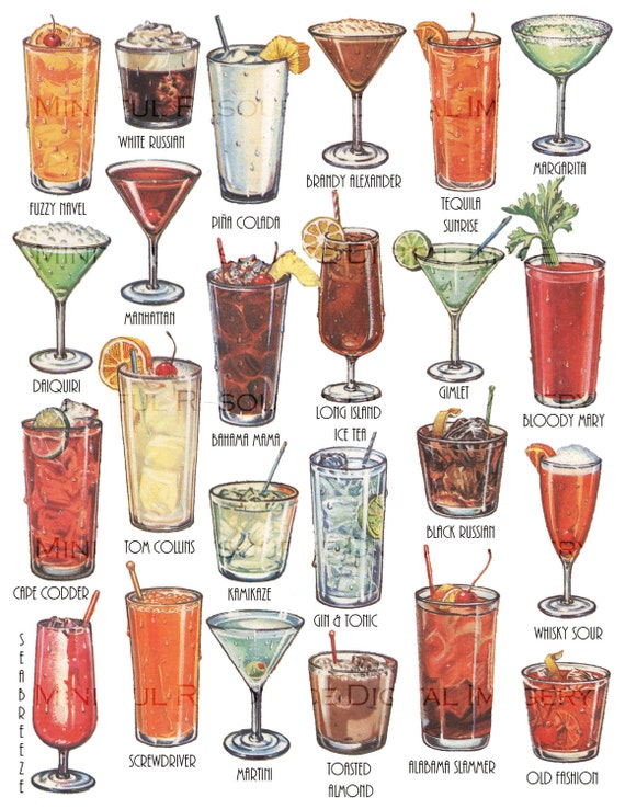 Cocktails retro art drinks vintage printable illustration for Names of mix drinks