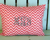 Monogram pillow cover-12 X 16  coral  chevron print- housewarming gift-decorative pillow cover-gifts under 40-throw pillow-accent pillow