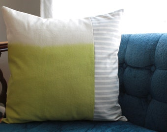 SALE chartreuse green + grey stripe pillow cover | color block pillow | 18 x 18 inch pillow cover