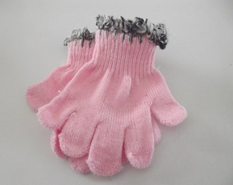 Stretch Kids Gloves with Handspun Angora or Wool Cuffs size 4-1/2