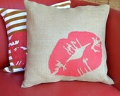 """Painted Burlap """"Sealed with a Kiss""""  Pillow …Hand  Screened on Burlap"""