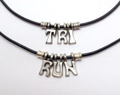 RUN or TRI Necklace - Leather or Stainless Chain