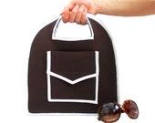 ON SALE // Tote Bag, Purse, Mini bag, Cute, Brown, Handbag,  Brown, Neopren, Tablet Bag, Pocket bag, Ipad bag, Natural Bag, Book bag