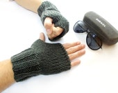 Valentines gift for him / Color Personalized Men fingerless gloves, Mittens, Grey, Arm Warmers, Motorcycle Rocker, Biker, wrist warmers