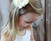 Cream Colored Fabric Hair Flower  Barrette Clip