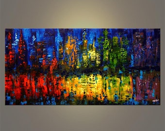 "Original Abstract Contemporary N.Y City Acrylic Painting Heavy Palette Knife Texture by Osnat Ready to Hang - MADE-TO-ORDER - 48""x24"""