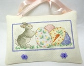 Bunny And Decorated Easter Eggs Cross Stitched Mini Pillow / Hanging Pillow/ Spring Decor