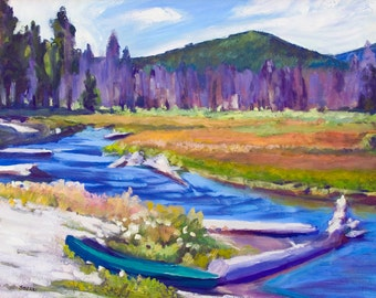 Oregon Landscape Painting Canvas Reproduction Odell Creek at East Davis Lake  20x30