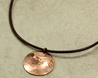 Hammered Copper Necklace with Leather Cord, Leather Cord Necklace, Hammered Copper Disc, Southwestern Necklace