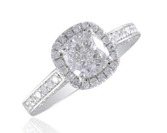 Platinum GIA Cushion & Round Cut Diamond Bridal Anniversary Ring 2.01 Ct