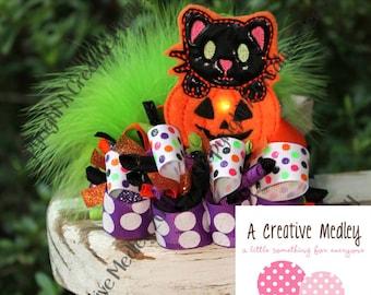 Pumpkin Kitty  Jumbo  felt feltie Embroidery design - instant download