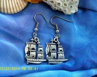 Pirate Ship Earrings