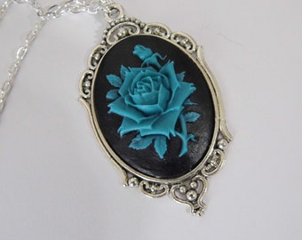 Silver Ink Clear Black Rose Flower Goth Steampunk Rockabilly Necklace Pendant Cameo
