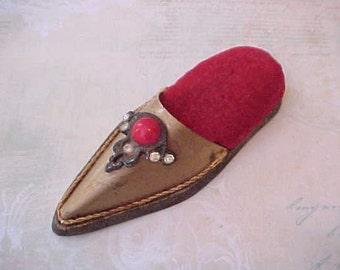 Unusual Jeweled Metal Shoe Vintage Pincushion