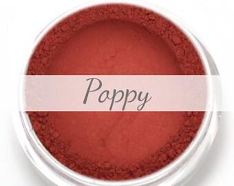 "Eyeshadow Sample - ""Poppy"" - Matte Warm Tomato Red Vegan Mineral Eyeshadow Net Wt .4g Sample Pot"