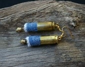 Hand Made Blue Denim Beads With Reused Brass 40 Caliber Bullet Shells Dangle Earrings
