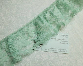 1 yard of 3 inch Celadon Green Ruffled chantilly lace trim for spring, bridal, baby, housewares, sewing, crafts by MarlenesAttic - Item FG