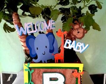 Jungle Safari Centerpiece Birthday Centerpiece Babyshower Centerpiece Animals Monkey Zebra Giraffe Elephant
