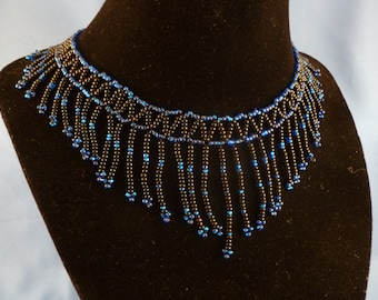 Blue and Black Beaded Choker Necklace