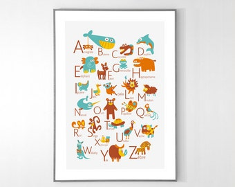 French Alphabet Poster with animals from A to Z, BIG POSTER 13x19 inches - Baby Children Nursery Custom Wall Print Poster