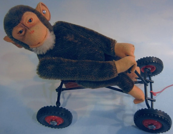 Rare Vintage Steiff Record Peter Jocko Monkey Riding Toy