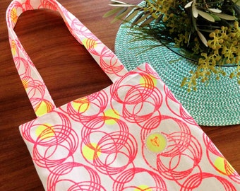 Hand printed Original Design Tote - Orbit (Neon Red + Neon Yellow)