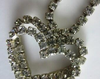 Vintage Rhinestone Necklace - Double Heart Pendant - Glass Prong Set Rhinestone Jewelry - Womans Fashion Accessory