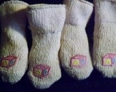 Vintage Baby Socks with Hand Sewn Leather Bottoms Two Pairs