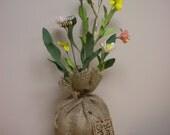Flower Bouquet in Burlap Bag, Spring Arrangement, Easter Floral Decoration, Primitive Centerpiece, Hostess Gift